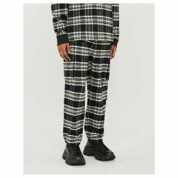 Checked straight relaxed-fit cotton-flannel trousers