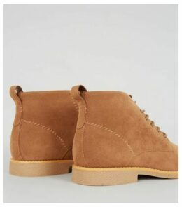 Stone Suedette Lace Up Boots New Look