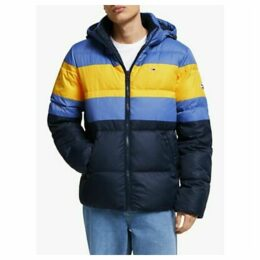 Tommy Jeans Rugby Colour-Blocked Recycled Puffer Jacket, Dutch Blue/Multi