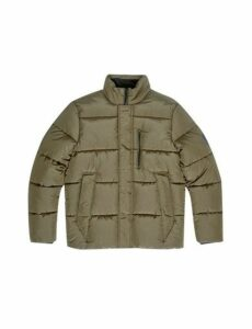 Mens Khaki Crinkle Funnel Neck Padded Jacket, KHAKI