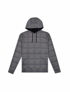 Mens Grey Check Print Overhead Hoodie, Grey