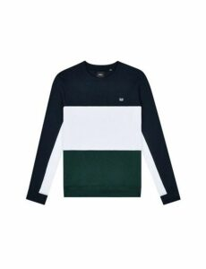 Mens Navy, Green And White Cut And Sew Sweatshirt, Multi
