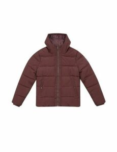 Mens Burgundy Midweight Hooded Padded Jacket, BURGUNDY