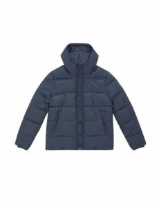 Mens Navy Midweight Hooded Padded Jacket, NAVY