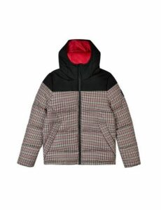 Mens Camel Mini Check Contrast Panel Hooded Puffer Jacket, MULTI