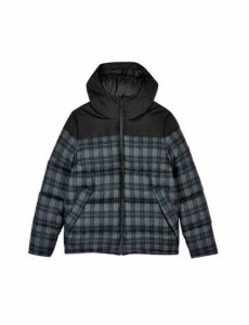 Mens Charcoal Check Contrast Panel Hooded Puffer Jacket, BLACK