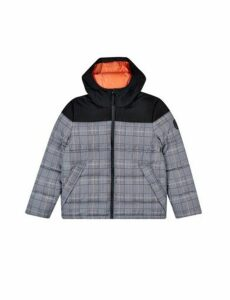 Mens Orange Check Contrast Panel Hooded Puffer Jacket, ORANGE