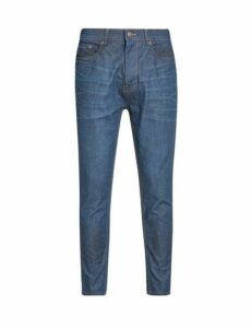 Mens Coated Raw Denim Carrot Fit Jeans, BLUE