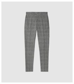 Reiss Capital - Checked Slim Fit Trousers in Soft Grey, Mens, Size 38