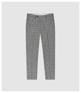 Reiss Avon - Slim Fit Checked Trousers in Grey, Mens, Size 38