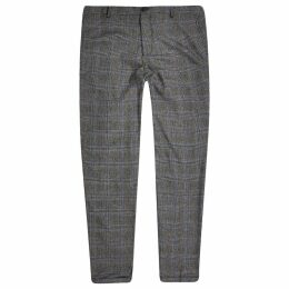 Mens River Island Selected Homme Grey check tapered trousers