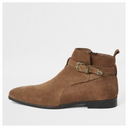 Mens River Island Mid Brown suede western buckle boots