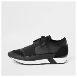 Mens River Island Black elasticated lace-up runner trainers