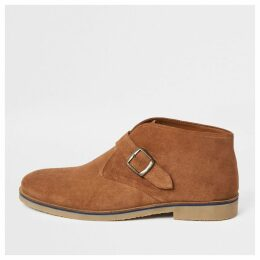 Mens River Island Mid Brown suede monk strap boots
