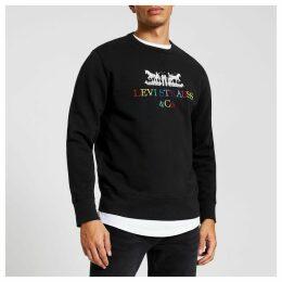 Mens River Island Levi's Black embroidered sweatshirt