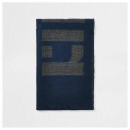 Mens River Island Navy RI monogram scarf
