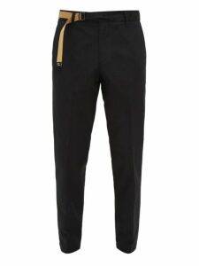 White Sand - Belted Cotton Twill Trousers - Mens - Navy