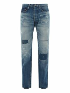 Junya Watanabe - X Levi's Distressed Multi Patch Denim Jeans - Mens - Indigo