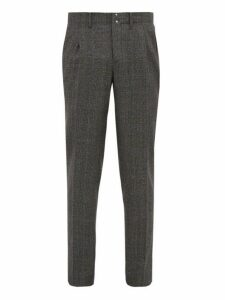 Incotex - Prince Of Wales Check Wool Trousers - Mens - Grey Multi