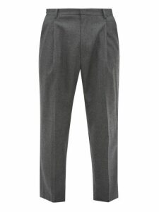 Wooyoungmi - Pleated Wool Blend Trousers - Mens - Grey Multi