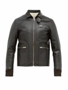 Aldo Maria Camillo - Slim Fit Leather Jacket - Mens - Dark Brown