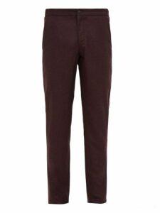 Incotex - Slim Fit Flannel Trousers - Mens - Burgundy