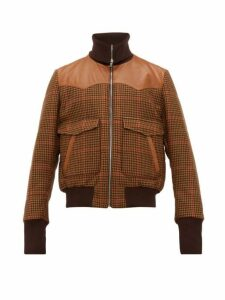 Wales Bonner - Leather Trimmed Houndstooth Wool Blend Jacket - Mens - Brown Multi