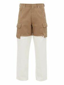 Jacquemus - Pêche Zipped Cut Off Cotton Straight Leg Trousers - Mens - Beige