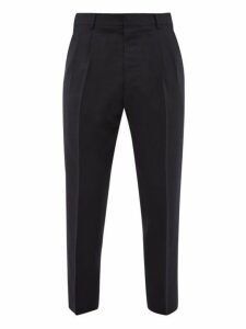 Ami - High Rise Wool Crepe Trousers - Mens - Navy