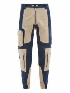 Gmbh - Two Tone Patchwork Denim Jeans - Mens - Beige