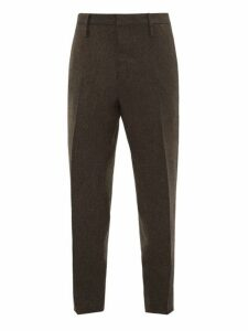 Aldo Maria Camillo - Tapered Leg Herringbone Wool Trousers - Mens - Brown