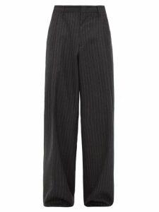 Gucci - Wide Leg Chalk Striped Wool Twill Trousers - Mens - Dark Grey