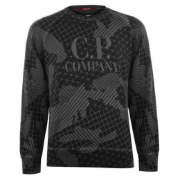 CP Company Grid Print Crew Neck Sweatshirt