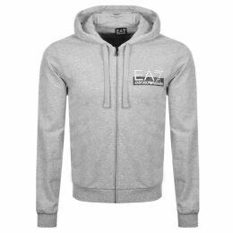 EA7 Emporio Armani Full Zip Logo Hoodie Grey