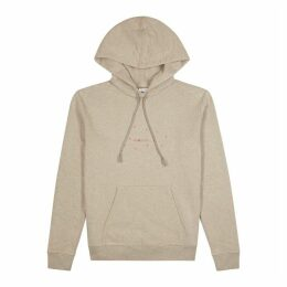 Saint Laurent Taupe Logo Hooded Cotton-blend Sweatshirt