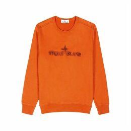 Stone Island Orange Logo Cotton Sweatshirt
