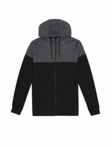 Mens Charcoal And Black Cut And Sew Feeder Stripe Zip Through Hoodie, CHARCOAL