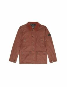 Mens Brown Wax Look Cord Collar Jacket, BROWN