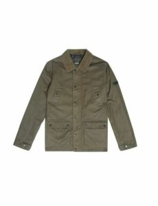 Mens Khaki Wax Look Cord Collar Jacket, KHAKI