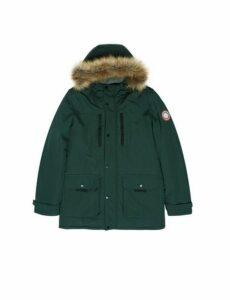 Mens Green Faux Fur-Trimmed Hooded Parka, Green