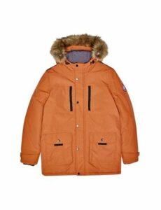 Mens Orange Faux Fur-Trimmed Hooded Parka, ORANGE