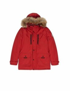Mens Red Faux Fur-Trimmed Hooded Parka, RED