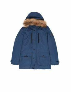 Mens Rich Blue Faux Fur-Trimmed Hooded Parka, Blue