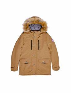 Mens Camel Faux Fur-Trimmed Hooded Parka, BROWN