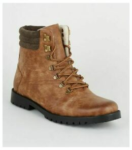 Tan Leather-Look Hiker Boots New Look