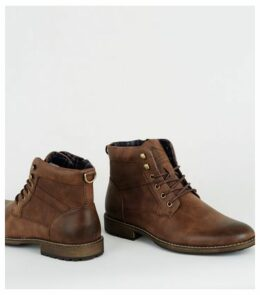 Dark Brown Leather-Look Military Boots New Look