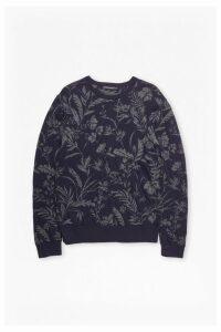 Fumio Jacquard Lambswool Sweatshirt - marine blue/charcoal mel