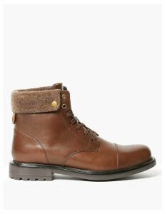 M&S Collection Leather Felt Collar Toe Cap Casual Boots