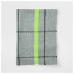 Mens River Island Grey check neon trim blanket scarf