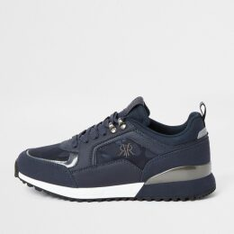 Mens River Island Navy lace-up runner trainers
